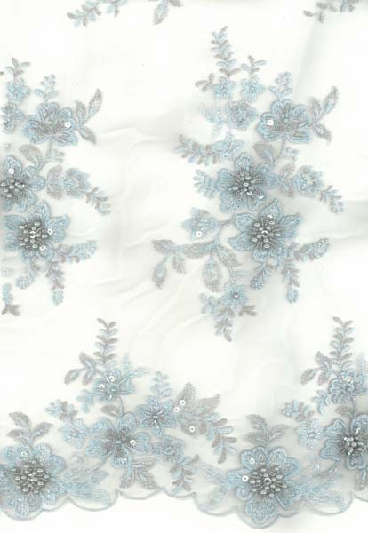 EMBROIDERED BEADED TULLE - SKY/SIL