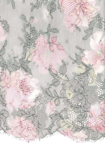 PRINTED FRENCH LACE - PINK/MINT