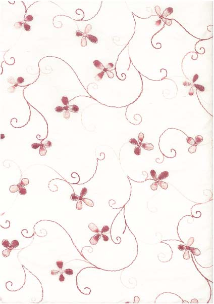 EMBROIDERED SILK DUPION - OLD ROSE