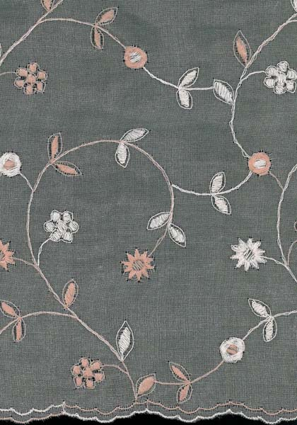 EMBROIDERED SILK MUSLIN - ANT ROSE