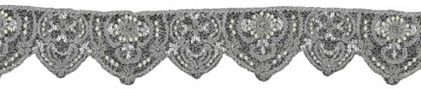 CRYSTAL BEADED SEQUIN EDGING - IV/SIL
