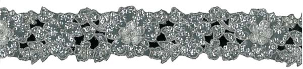 CRYSTAL BEADED SEQUIN GUIPURE EDGING - SIL