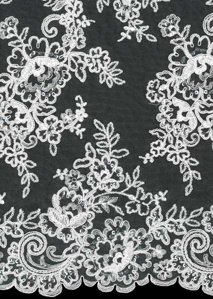 POLY SEQUIN CORDED LACE - IVORY